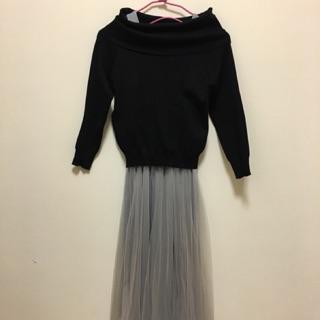 兩件式一字領紗裙