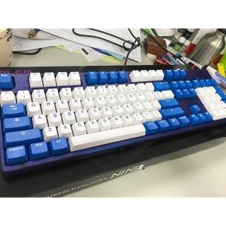 Filco 藍蓋 青軸 104鍵 100%鍵盤 +,Kbtalking古式PBT二色 藍白鍵帽
