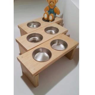 純手工寵物餐桌-原木貓餐桌/狗餐桌/貓碗架/寵物碗/餵食碗