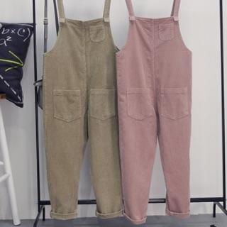 粉色燈芯絨吊帶褲