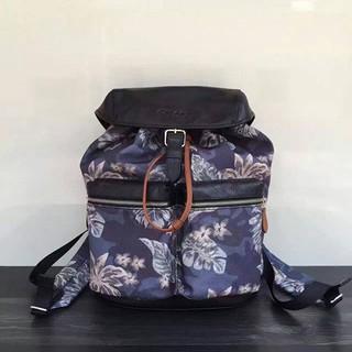 全新COACH 72083 男士夏威夷風塗鴉 真皮帆布 後背包 書包 黑灰色