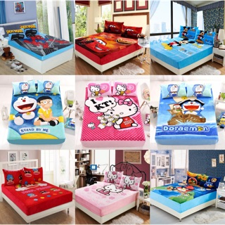 卡通法蘭絨單件床包床套單人/雙人 米奇/蜘蛛人/閃電麥坤/多啦/憤怒鳥/kitty