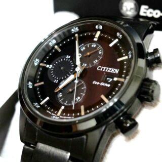 CITIZEN 三眼計時光動能錶-鍍黑(CA0615-59E)