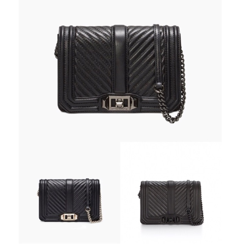 Rebecca Minkoff 黑色斜紋側背包 (小款)Chevron Quilted Small Love