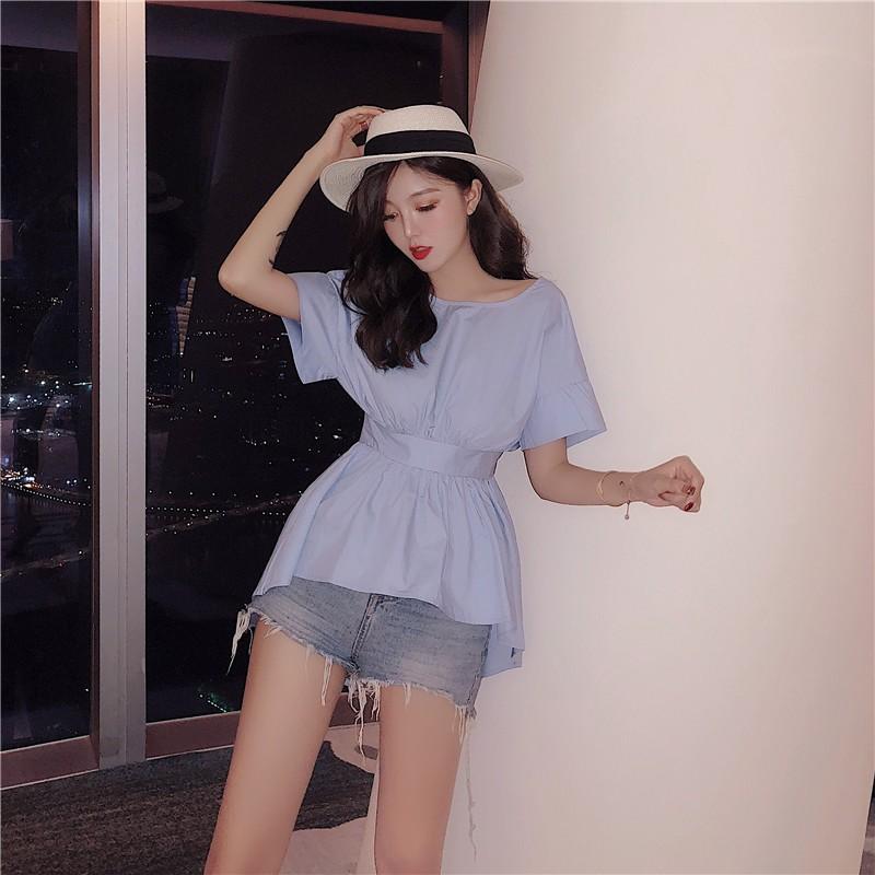 VK精品服飾 韓國風小心機蝴蝶結露背襯衫短袖上衣