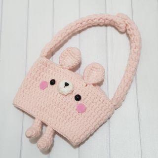 [毛線娃娃三腳貓] 兔兔手搖杯環保提袋 毛線 編織
