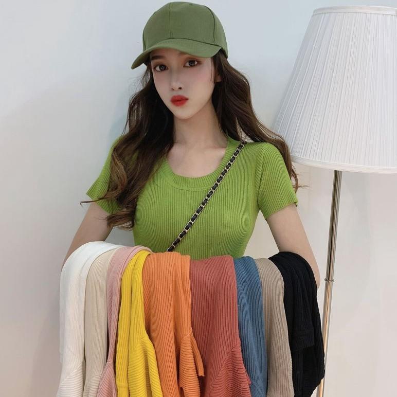 針織上衣 圓領針織 女生短版上衣 韓版純色短袖T恤女修身內搭短款冰絲針織衫薄款上衣