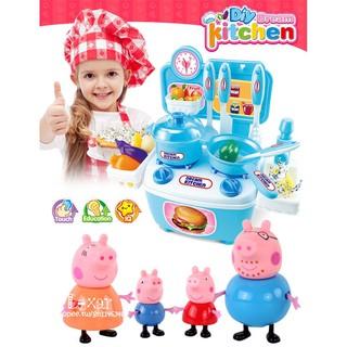 迷你廚房套裝做飯真煮小豬佩琪餐具過家家男女孩玩具小伶玩具