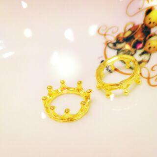 草莓小熊  金色立體皇冠/diy手作材料/吊飾配件/玻璃球底座
