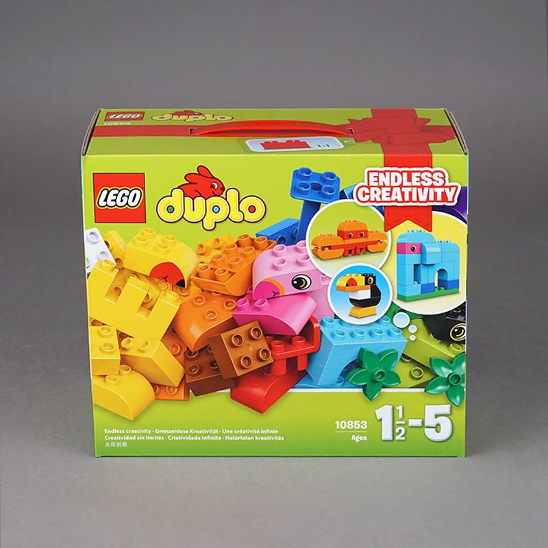 【假一賠十】樂高得寶系列10853創意拼砌箱兒童寶寶積木益智玩具大顆粒男孩