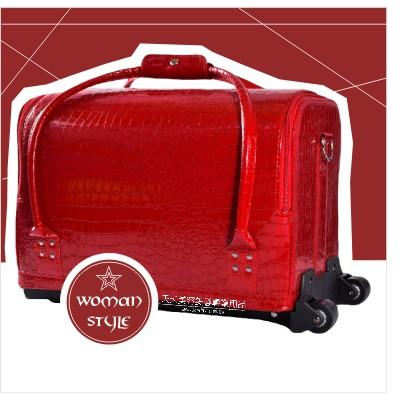 [47741]新秘大布朗側拉式{兩輪}拉桿化妝箱.工具箱.美甲箱(紅色鱷魚紋)[47741] 化妝箱包