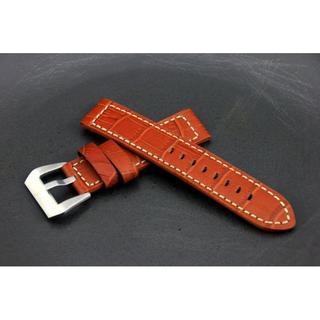 168錶帶配件~20mm Banda hamilton飛行軍錶風格直身20mm白縫線鱷魚皮紋真皮錶帶seiko citizen
