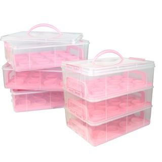 出口cupcake馬芬Muffins紙杯餅盒36杯子蛋糕盒三層蛋糕盒/粉紅塑膠盒/手提蛋糕盒/韓式擠花杯子蛋糕盒(預購)