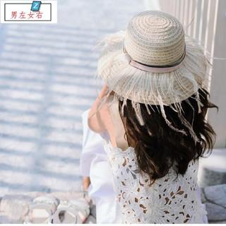 英式貴族風 2017新款帽子 優質鴕鳥羽毛復古草帽遮陽帽