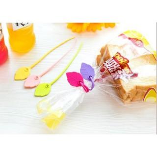 葉子環保矽膠食品袋封口紮帶 零食袋封口夾 束口綁帶 繞線器