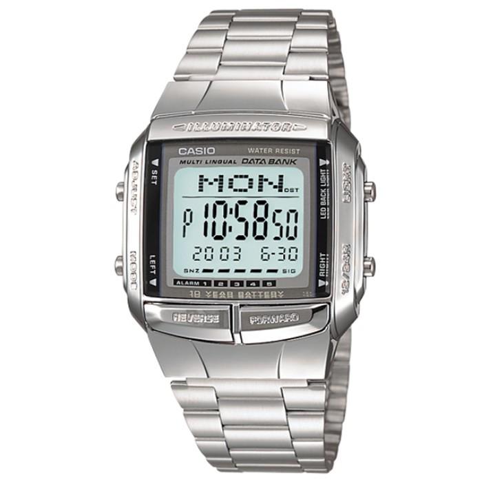 【CASIO】卡西歐多時區鬧鈴電子鋼帶錶 / DB-360-1A (台灣公司貨全配盒裝)