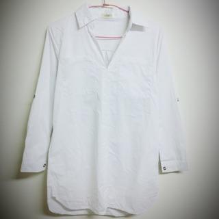 F-DNA %23 全新%23 V領 男友 口袋 長版 白 襯衫 洋裝