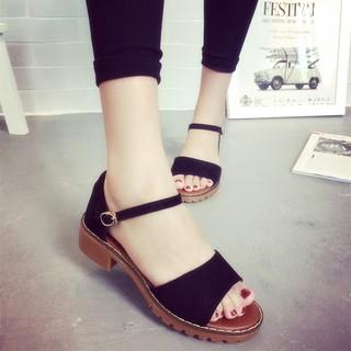 韓國百搭羅馬平底涼鞋一字扣女學生露趾平跟波西米亞