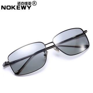 眼鏡半框眼鏡防紫外線太陽鏡男士變色偏光鏡淺色眼鏡日夜兩用開車墨鏡司機眼睛