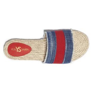Yosi Samra麻編底涼拖鞋單寧布拼接款紅色