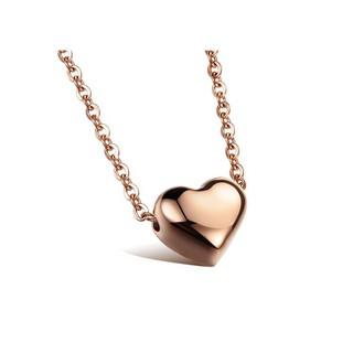 光面心型女生鎖骨項鍊 鈦鋼電鍍玫瑰金愛心吊墜 現貨特價