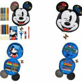 日本直購disney迪士尼米奇米妮 造型10件文具組 蠟筆 剪刀 橡皮擦 口紅膠 剪刀 鉛筆 尺