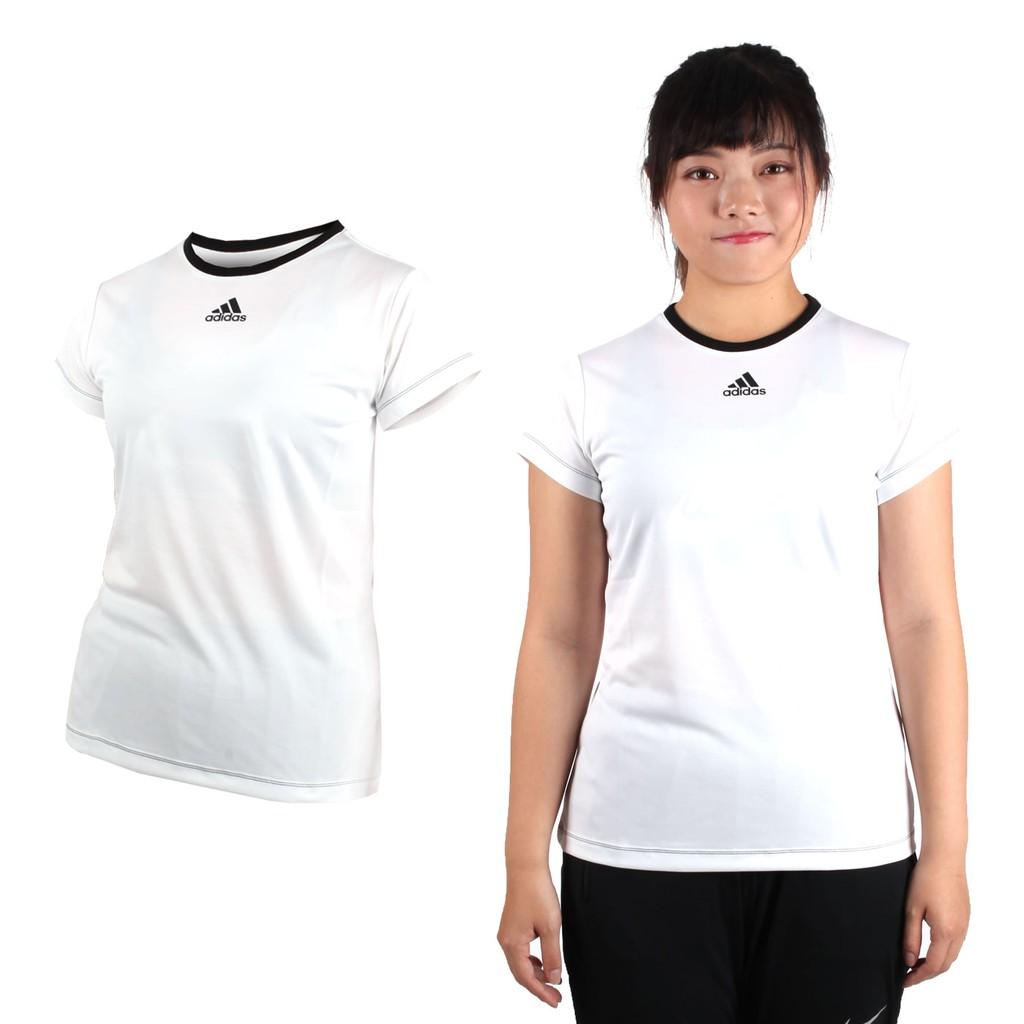ADIDAS 女短袖T恤(慢跑 路跑 短T 愛迪達 白黑 AZ4081