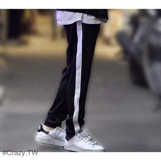預購 彈力側邊 單線運動褲 線條褲 白條運動褲 白邊褲 側邊白邊 男女 運動褲 休閒褲