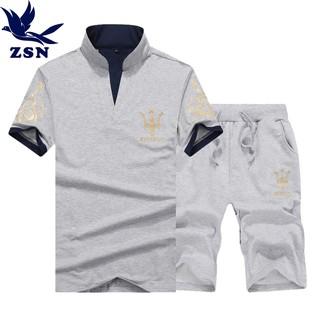 19  套裝休閒套裝 套裝短袖Polo 衫t 恤兩件休閒短褲大呎碼寬鬆短褲 短褲套裝 服飾棉