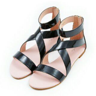 OPHELIE珠光繫帶造型涼鞋 黑色 37.5(約24-24.5)
