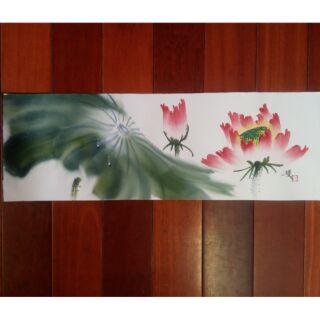 手繪 水彩畫 荷花 蓮花