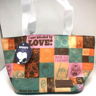 正版 史努比 拼貼 保溫提袋 保溫袋 保冷袋  便當袋 手提袋 禮物