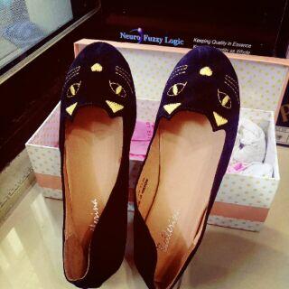 Ballerina淘氣貓咪平底麂皮豆豆鞋