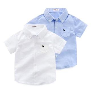 ☇喜尼熊男童白襯衫短袖2018夏季新款兒童襯衣韓版兒童2-8歲夏裝潮