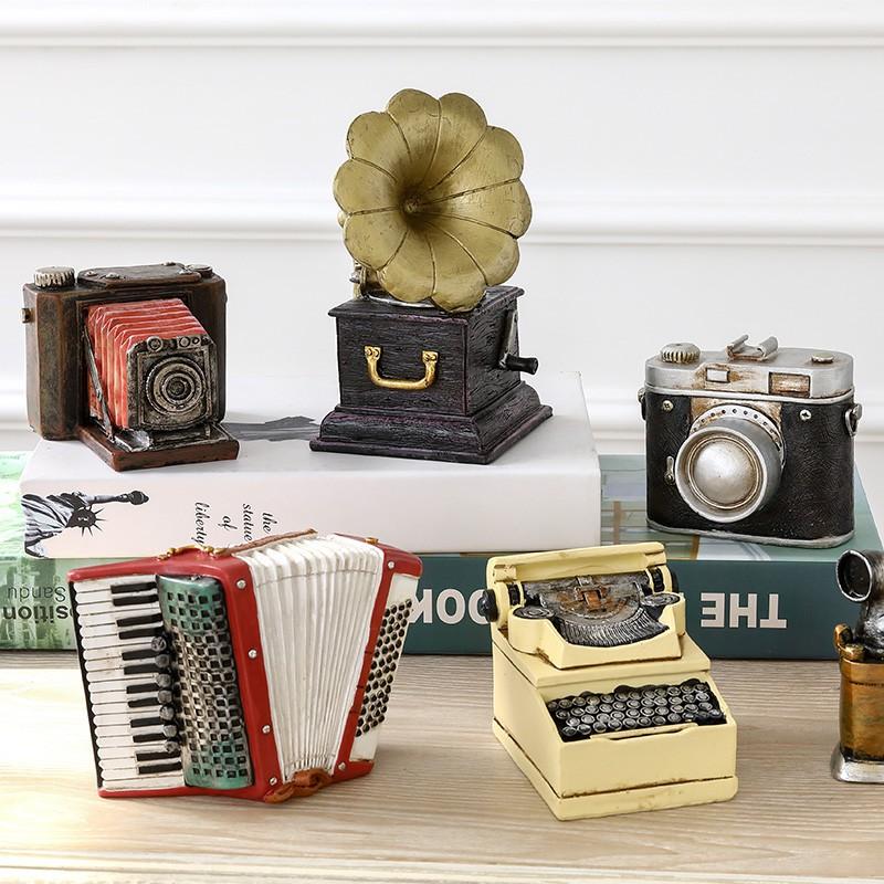 復古懷舊英倫紅色留聲機擺件 電話相機美式書櫃咖啡廳裝飾品擺設
