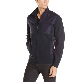 美國百分百【全新真品】Calvin Klein 外套 CK 夾克 立領 騎士 合身 口袋 深藍 男衣 L號 E497