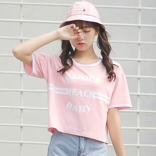 正韓短版上衣學院風百搭字母印花T 恤套頭上衣短袖T 恤女顯瘦打底衫閨蜜裝