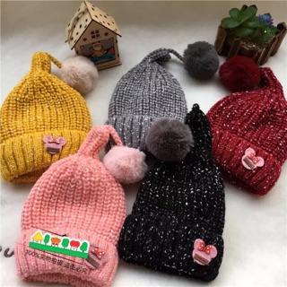 寶寶冬天加絨針織毛球帽