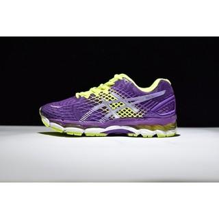 Asics gel nimbus 17 愛絲克斯 網面休閒緩震跑步鞋 女鞋 紫黃 T557N 3793