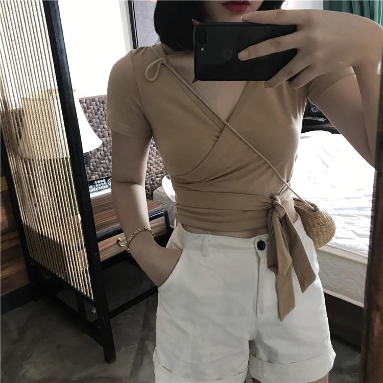 實拍2017韓國chic氣質V領交叉 修身純色百搭 系帶短袖T恤女 上衣 寬褲 百搭寬鬆上