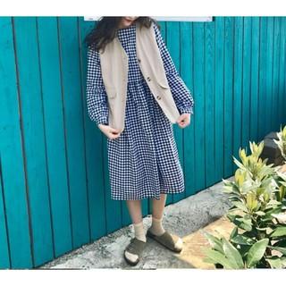 日系野餐風  棉麻格紋洋裝 卡其類漁夫外搭背心 outdoor