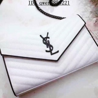 YSL 包包(白色球紋信封包)聖羅蘭