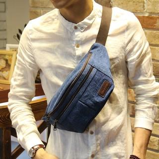 2017新款韓版胸包 男士小胸包 單肩斜跨小包 牛仔帆布胸包男女包