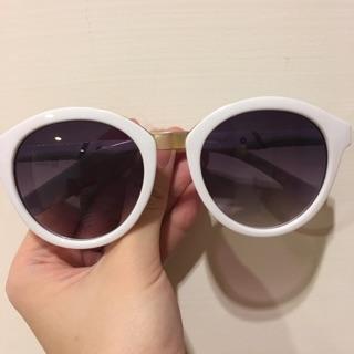 英國製 太陽眼鏡 natkiel 復古 白色 圓框