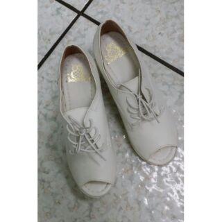 白色厚底綁帶高跟鞋23.5