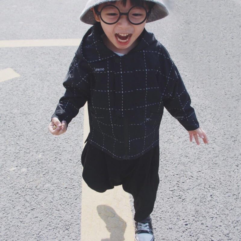 蓁誠 秋裝 男童 女童 兒童 寶寶 小童 中大童 格子 格紋 撞色 長袖連帽外套 夾克 帥