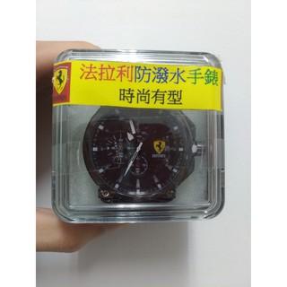 Ferrari 法拉利 帥氣 防潑水 三眼 運動風 賽車錶 合成皮錶帶 黑