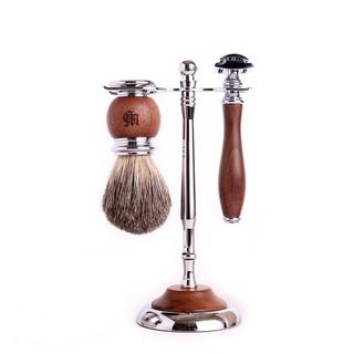 英國 Grand Manner 尊爵系列 雙刃安全刮鬍刀套組(胡桃木)適用傳統老式雙面刮鬍刀片 禮物 送禮 生日 情人節