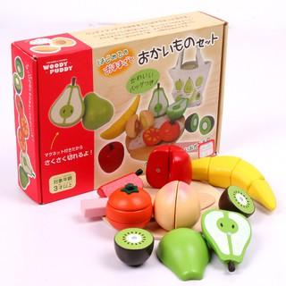 模擬廚房玩具 磁性木質布袋水果切切看