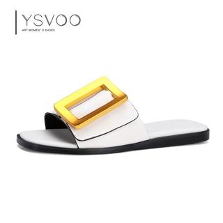51K潮品鋪YSVOO正品一字真皮透氣平底外穿方頭扣女鞋2017夏季新款拖鞋2779